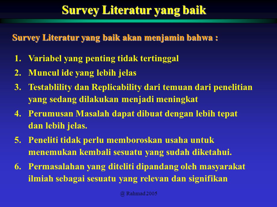 Survey Literatur yang baik