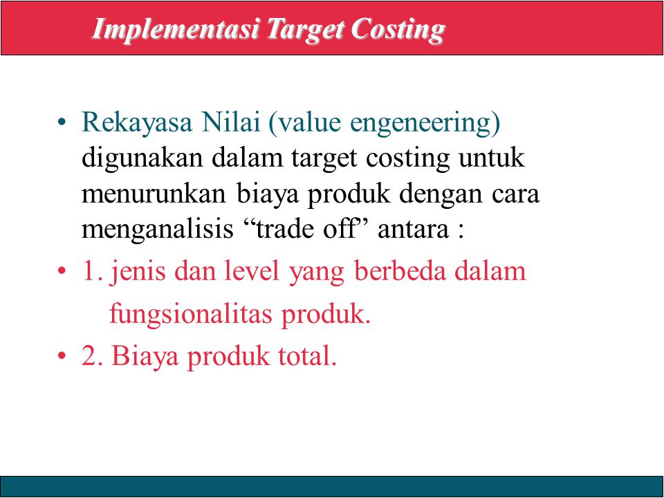 Implementasi Target Costing