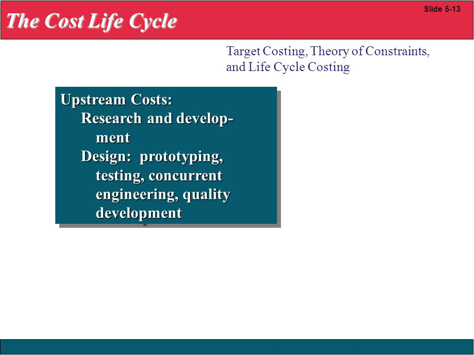 The Cost Life Cycle Upstream Costs: Research and develop- ment