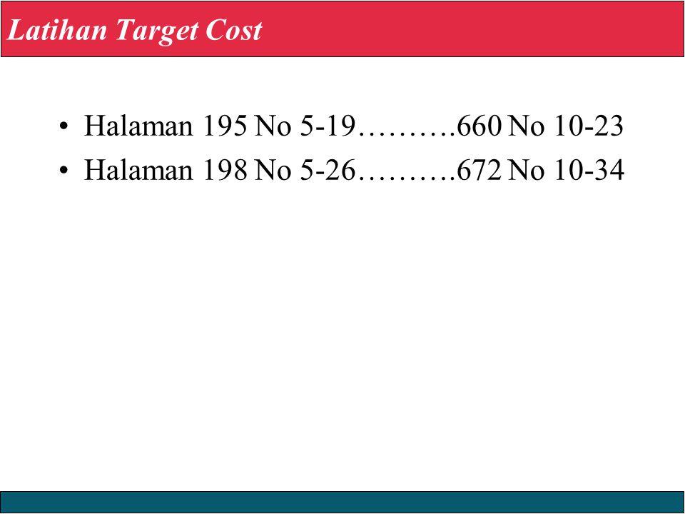 Latihan Target Cost Halaman 195 No 5-19……….660 No 10-23 Halaman 198 No 5-26……….672 No 10-34