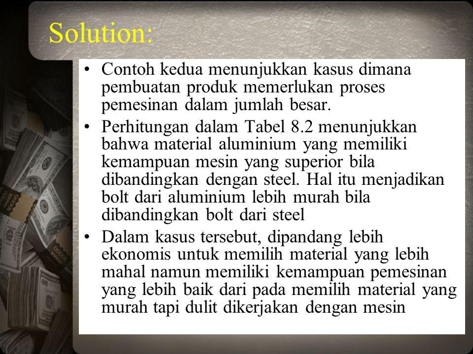 Solution: Contoh kedua menunjukkan kasus dimana pembuatan produk memerlukan proses pemesinan dalam jumlah besar.