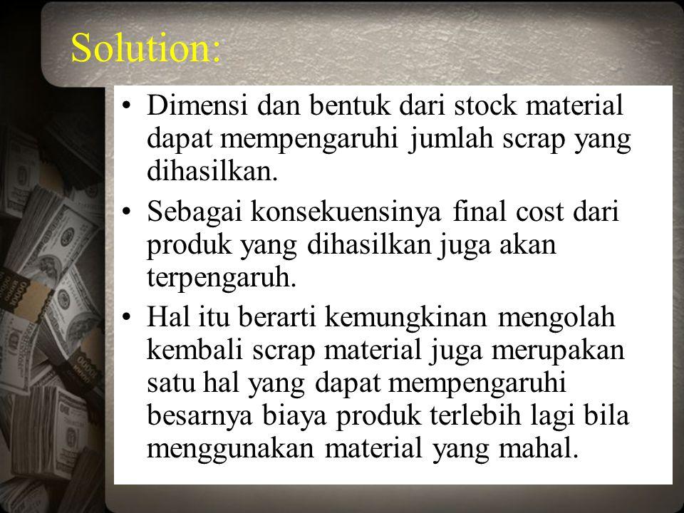 Solution: Dimensi dan bentuk dari stock material dapat mempengaruhi jumlah scrap yang dihasilkan.