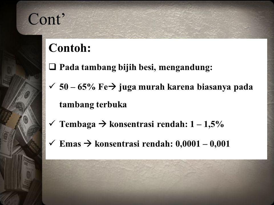 Cont' Contoh: Pada tambang bijih besi, mengandung:
