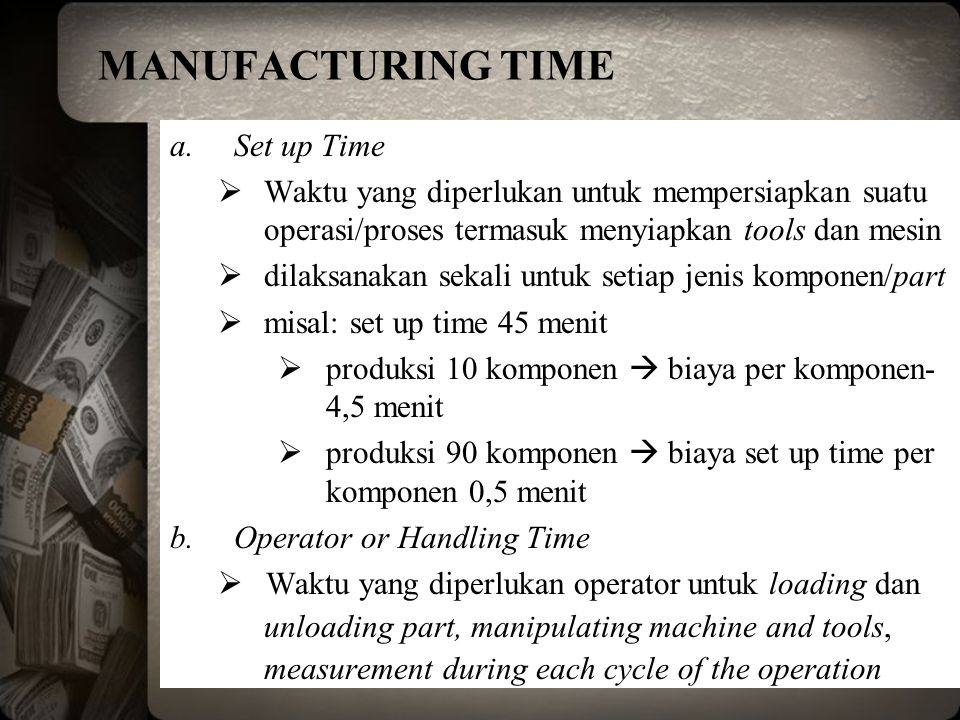 MANUFACTURING TIME Set up Time