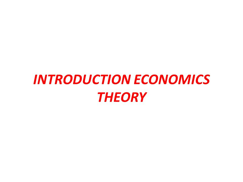 INTRODUCTION ECONOMICS THEORY