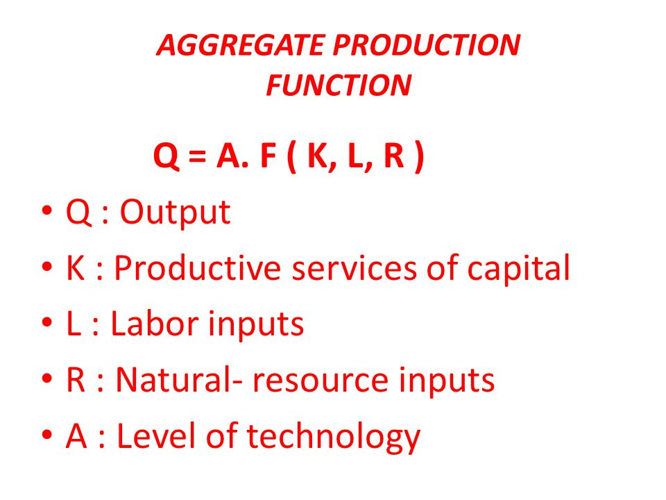AGGREGATE PRODUCTION FUNCTION