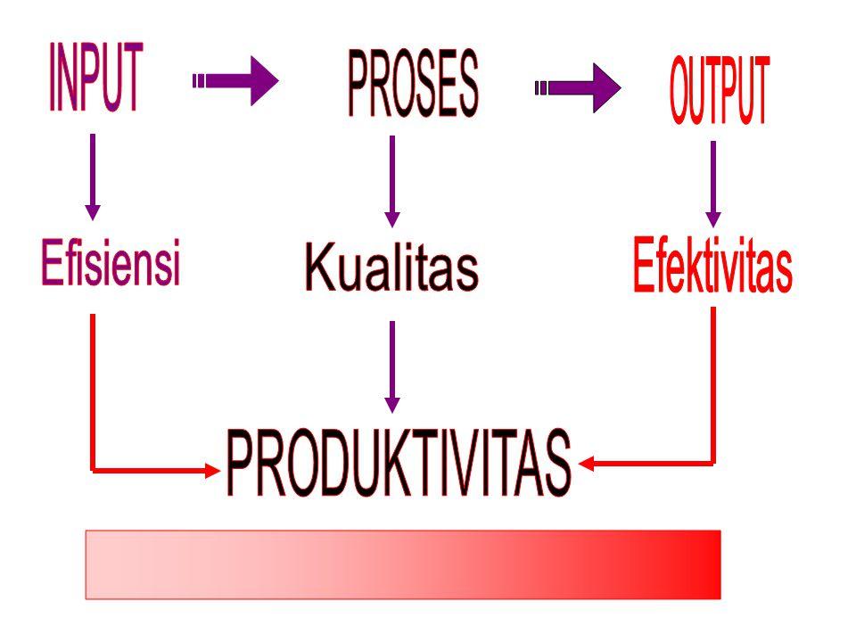 INPUT PROSES OUTPUT Efisiensi Efektivitas Kualitas PRODUKTIVITAS l