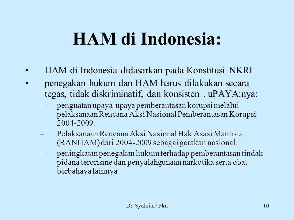 HAM di Indonesia: HAM di Indonesia didasarkan pada Konstitusi NKRI