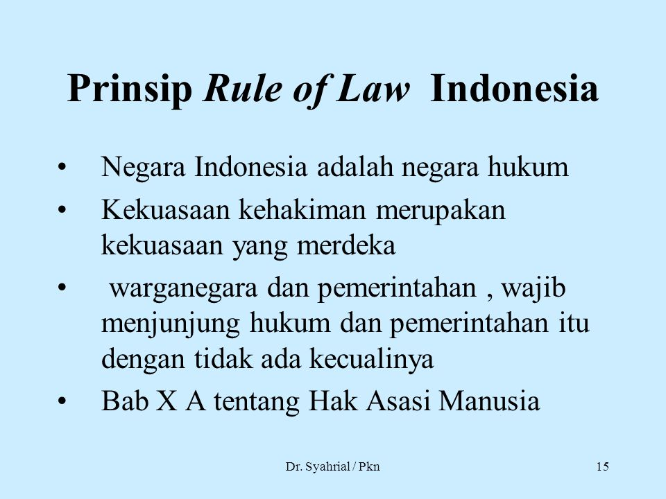 Prinsip Rule of Law Indonesia