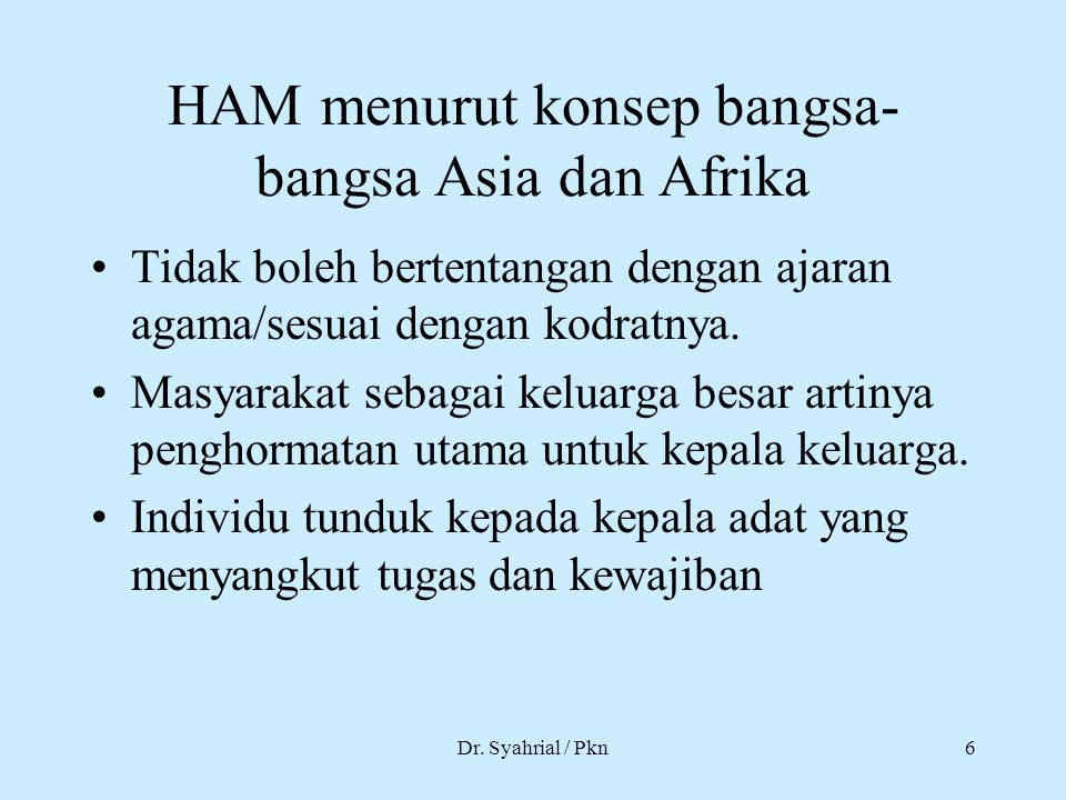 HAM menurut konsep bangsa-bangsa Asia dan Afrika