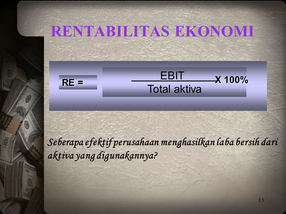 Rentabilitas Ekonomi EBIT Total aktiva