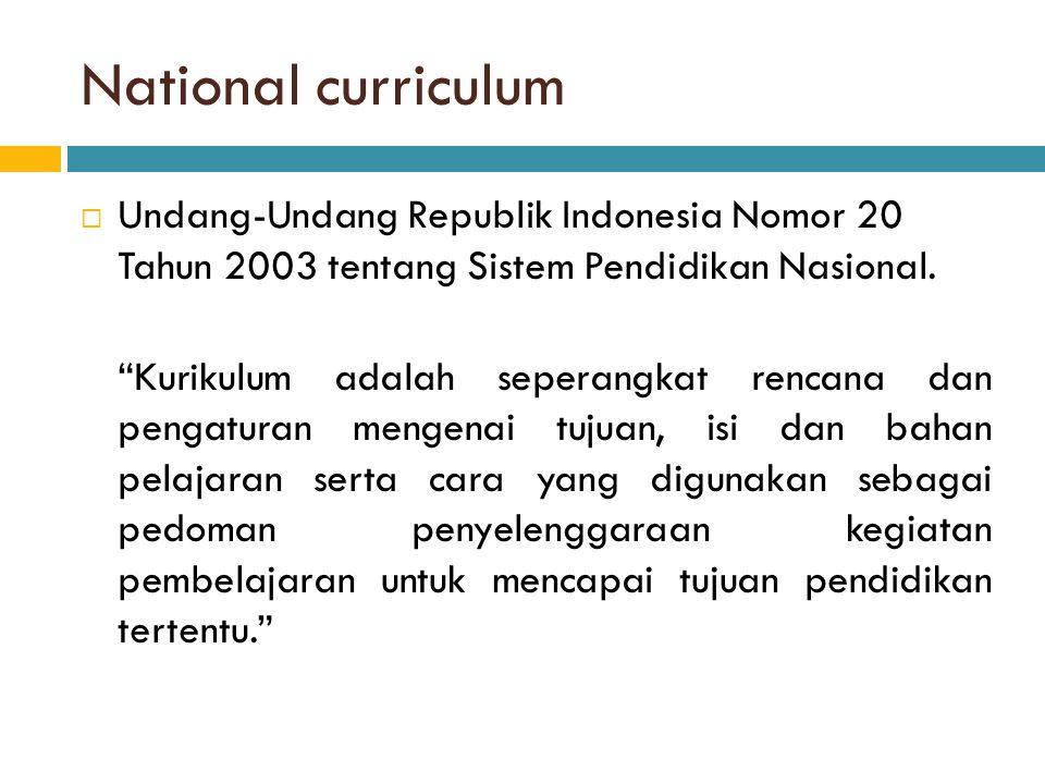 National curriculum Undang-Undang Republik Indonesia Nomor 20 Tahun 2003 tentang Sistem Pendidikan Nasional.