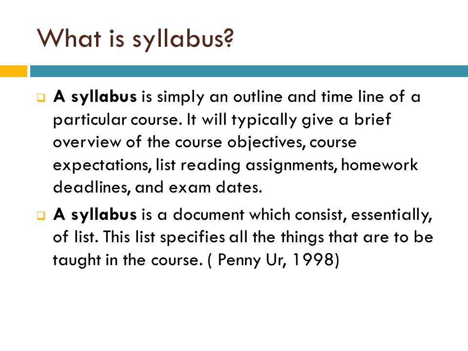 What is syllabus