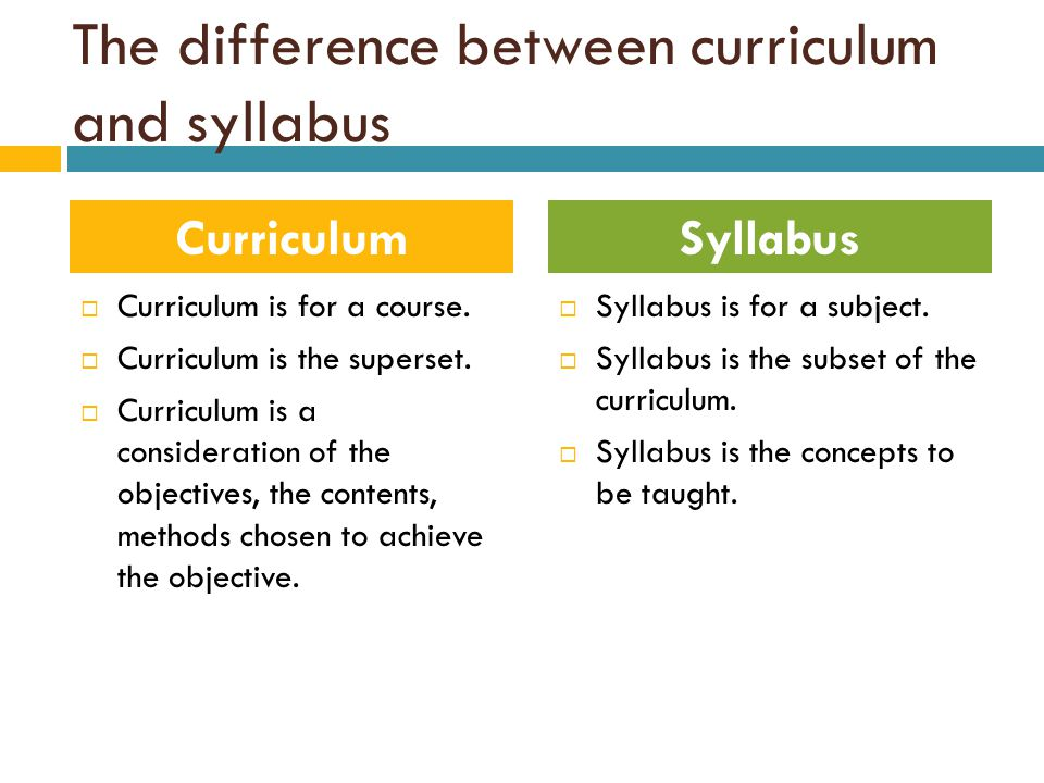 The difference between curriculum and syllabus