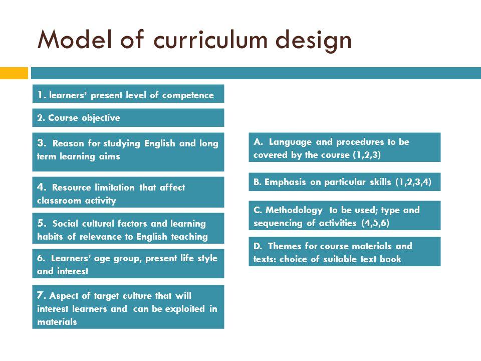 Model of curriculum design
