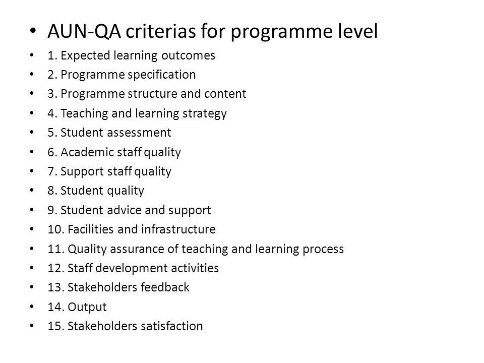 AUN-QA criterias for programme level