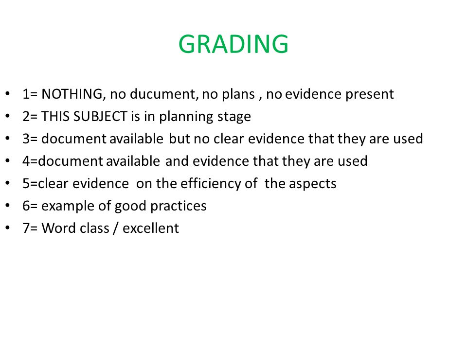 GRADING 1= NOTHING, no ducument, no plans , no evidence present