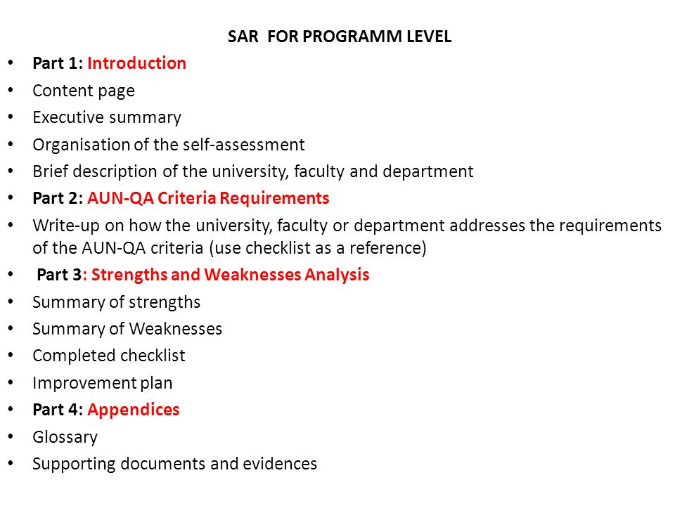 SAR FOR PROGRAMM LEVEL Part 1: Introduction. Content page. Executive summary. Organisation of the self-assessment.