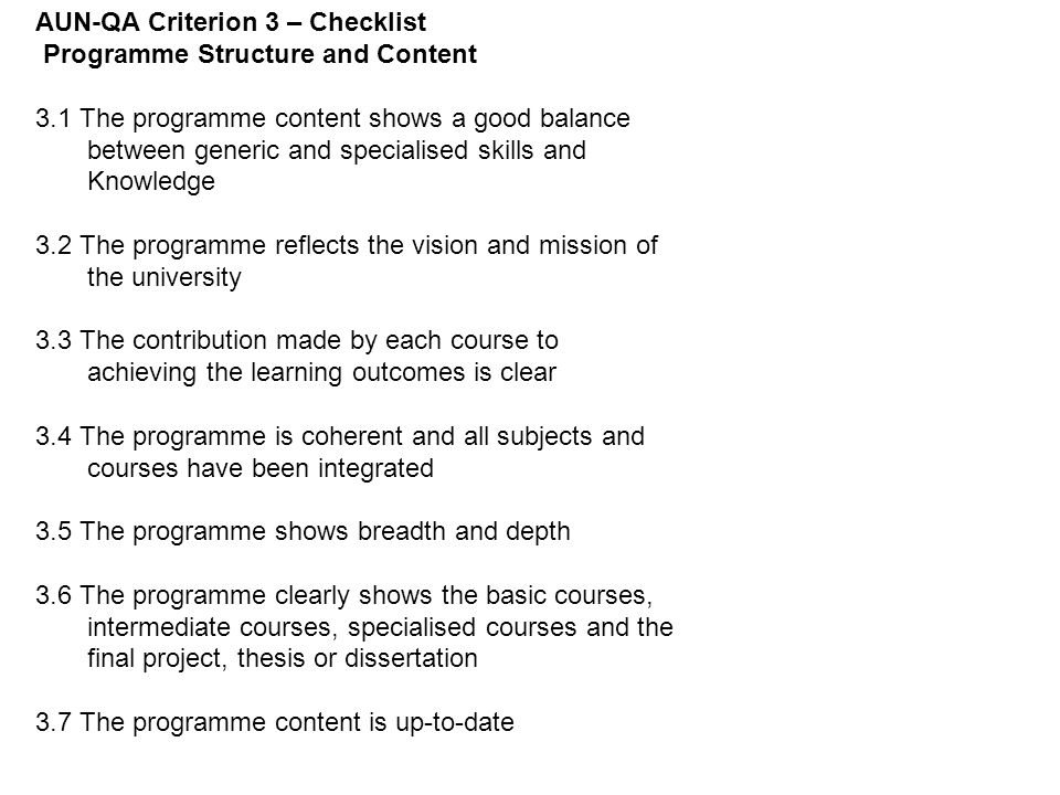 AUN-QA Criterion 3 – Checklist