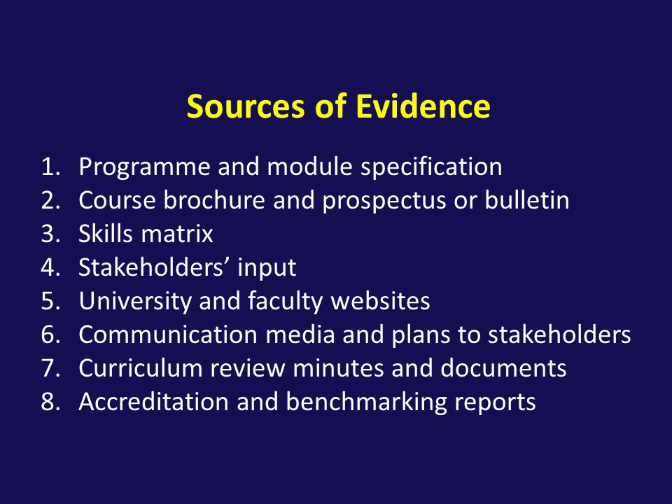 Sources of Evidence Programme and module specification
