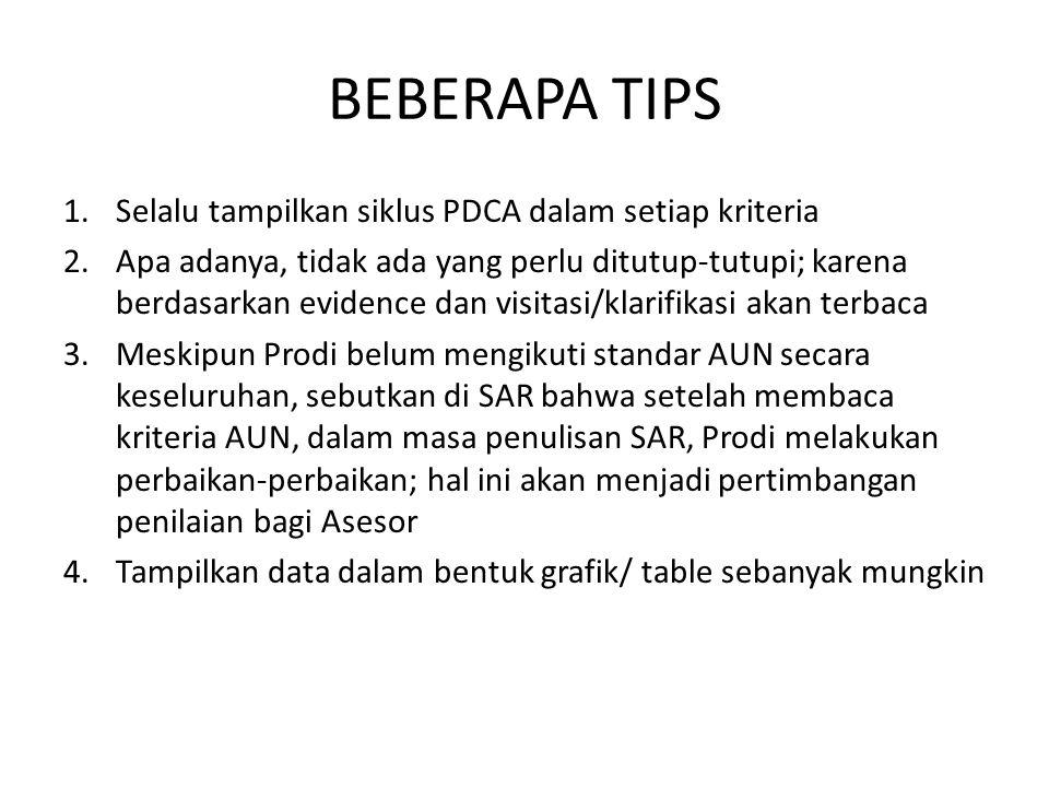 BEBERAPA TIPS Selalu tampilkan siklus PDCA dalam setiap kriteria