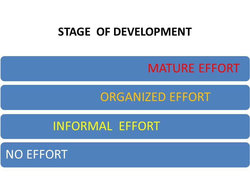 STAGE OF DEVELOPMENT MATURE EFFORT ORGANIZED EFFORT INFORMAL EFFORT