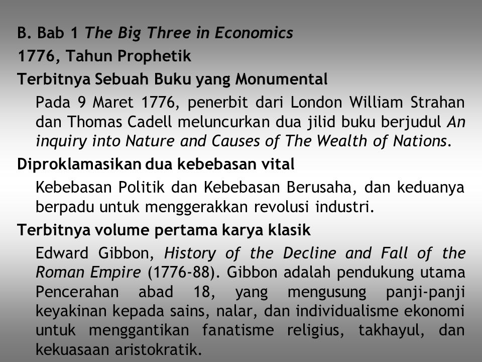 B. Bab 1 The Big Three in Economics
