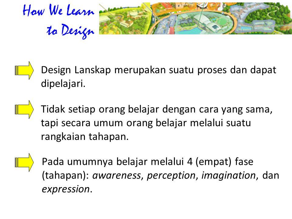 How We Learn to Design Design Lanskap merupakan suatu proses dan dapat dipelajari.