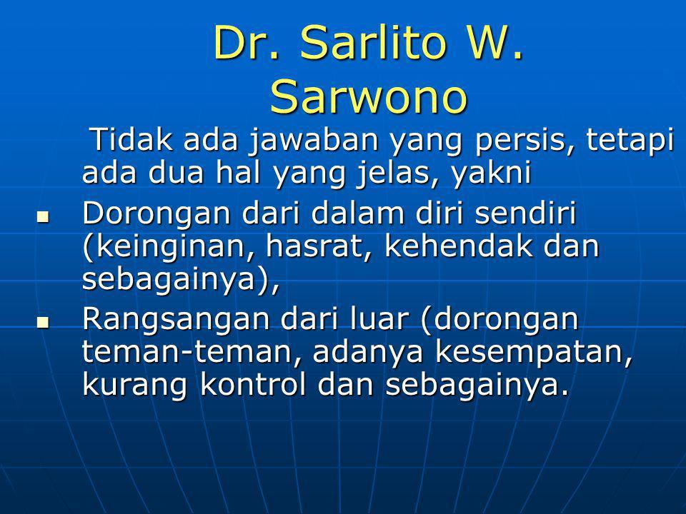 Dr. Sarlito W. Sarwono Tidak ada jawaban yang persis, tetapi ada dua hal yang jelas, yakni.