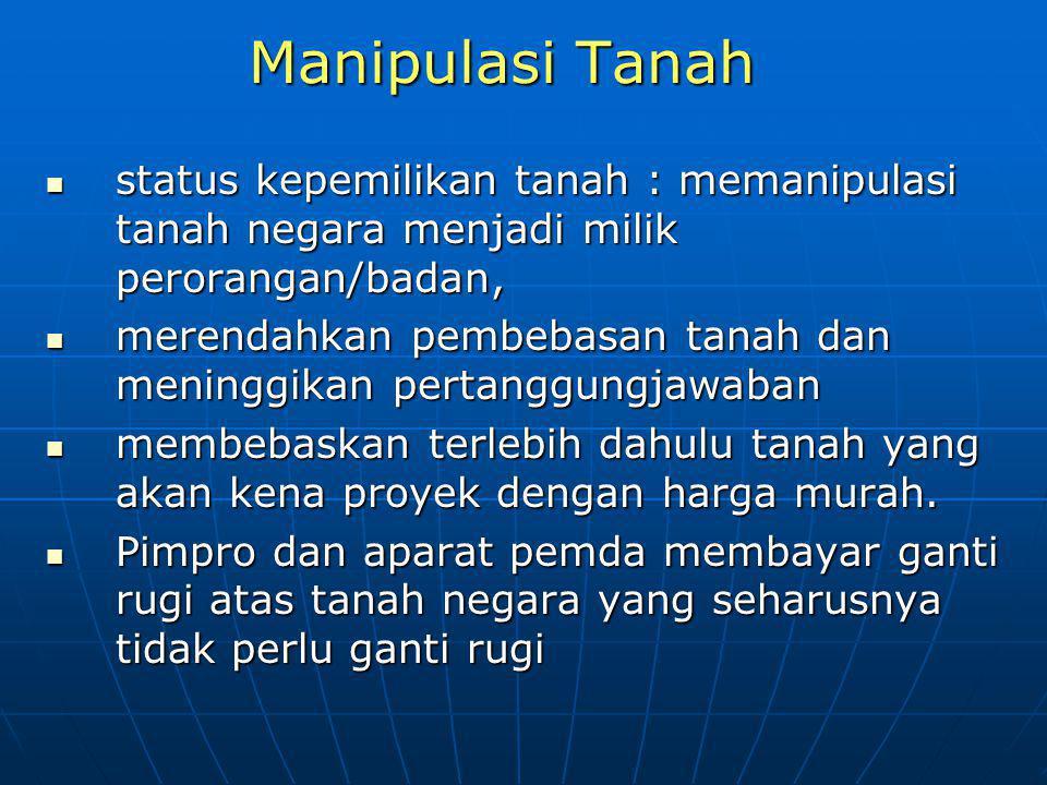 Manipulasi Tanah status kepemilikan tanah : memanipulasi tanah negara menjadi milik perorangan/badan,