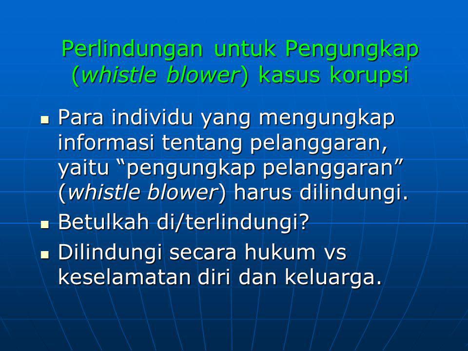 Perlindungan untuk Pengungkap (whistle blower) kasus korupsi
