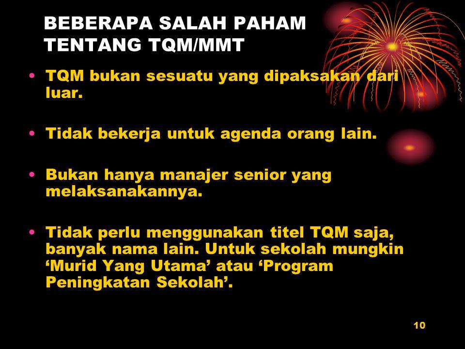 BEBERAPA SALAH PAHAM TENTANG TQM/MMT