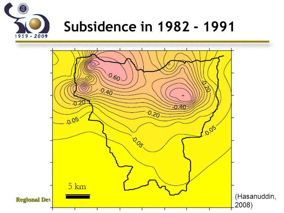 Subsidence in 1982 - 1991 (Hasanuddin, 2008)