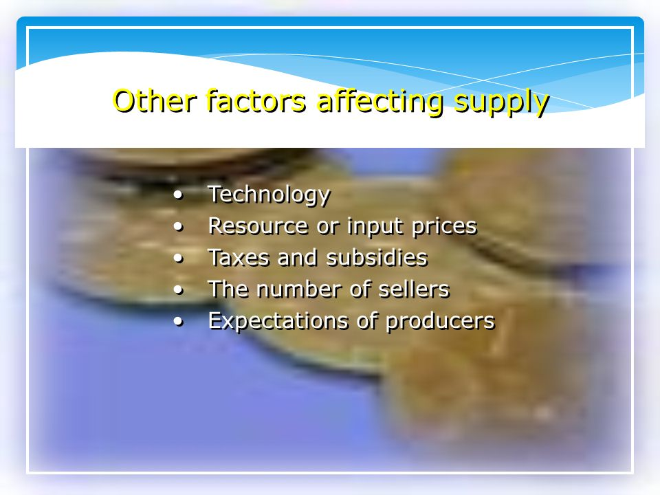Other factors affecting supply