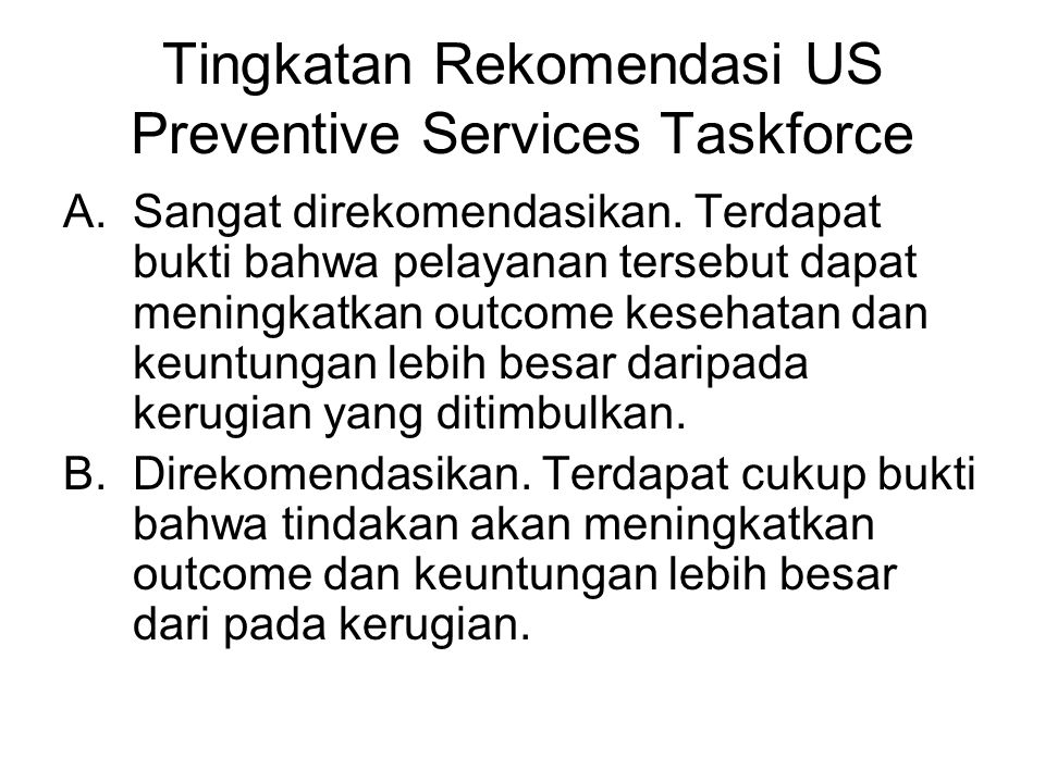 Tingkatan Rekomendasi US Preventive Services Taskforce