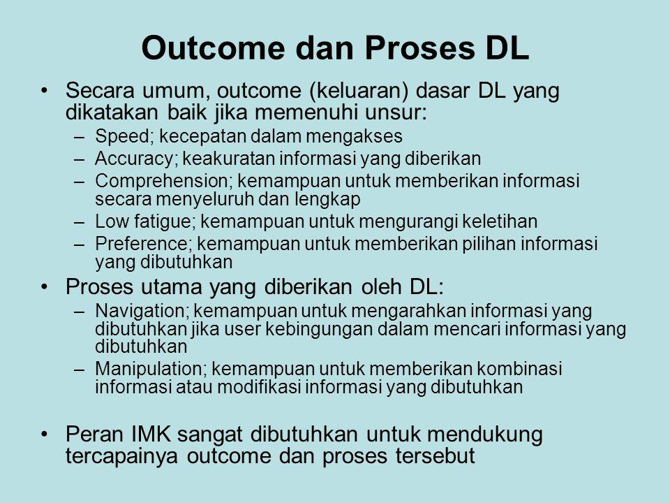 Outcome dan Proses DL Secara umum, outcome (keluaran) dasar DL yang dikatakan baik jika memenuhi unsur: