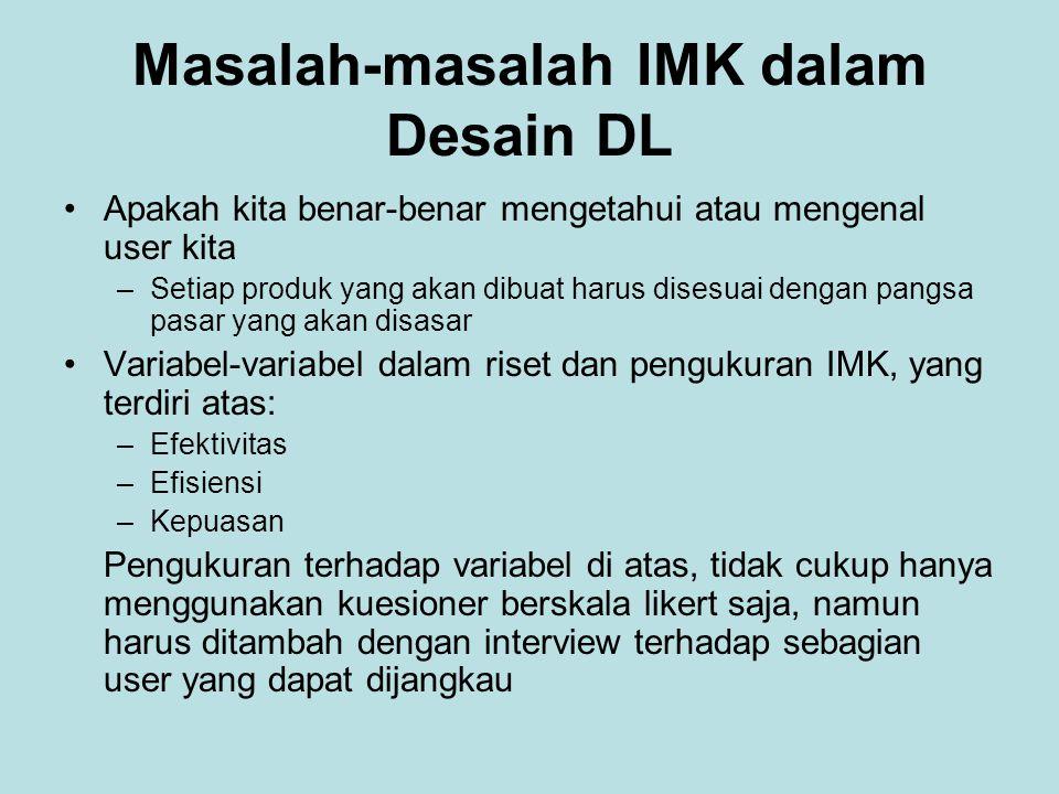 Masalah-masalah IMK dalam Desain DL