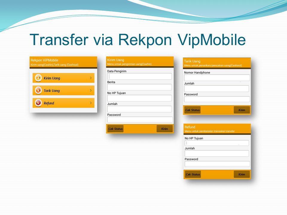 Transfer via Rekpon VipMobile