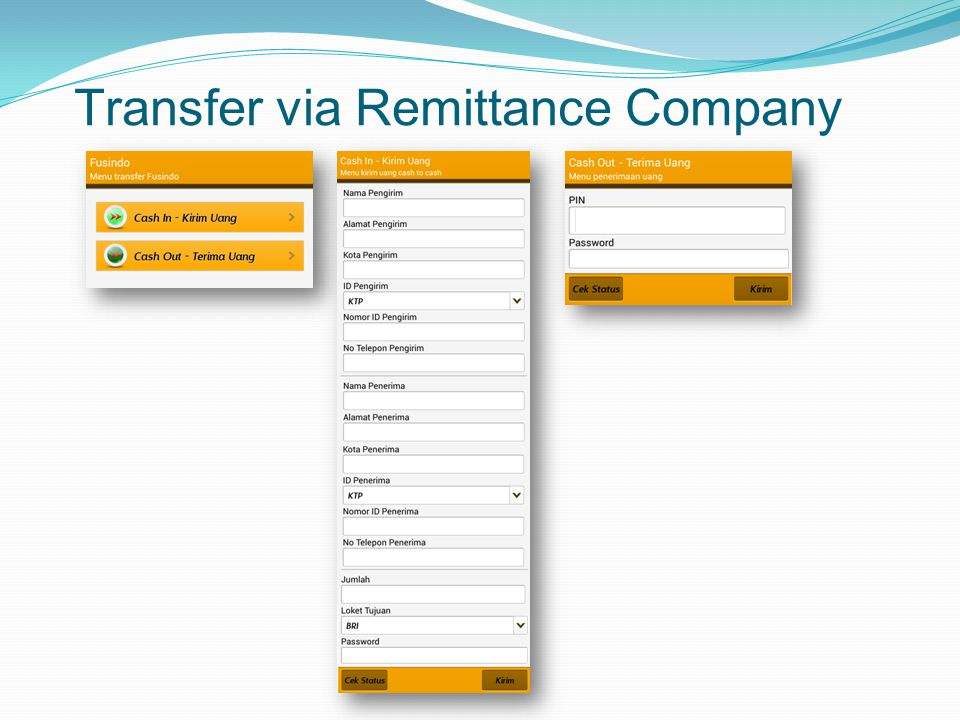 Transfer via Remittance Company