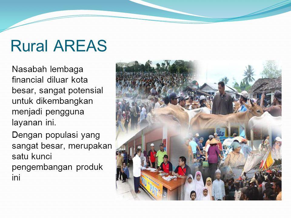 Rural AREAS Nasabah lembaga financial diluar kota besar, sangat potensial untuk dikembangkan menjadi pengguna layanan ini.