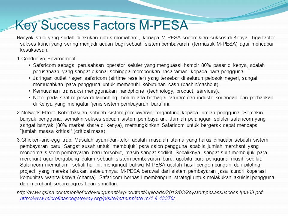 Key Success Factors M-PESA