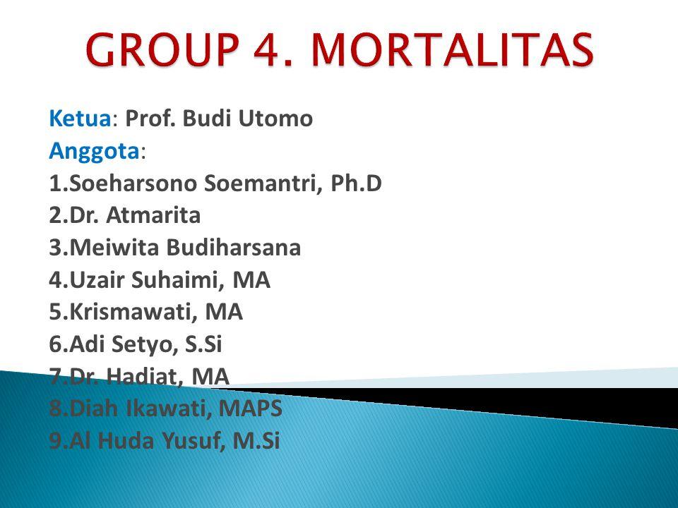 GROUP 4. MORTALITAS Ketua: Prof. Budi Utomo Anggota: