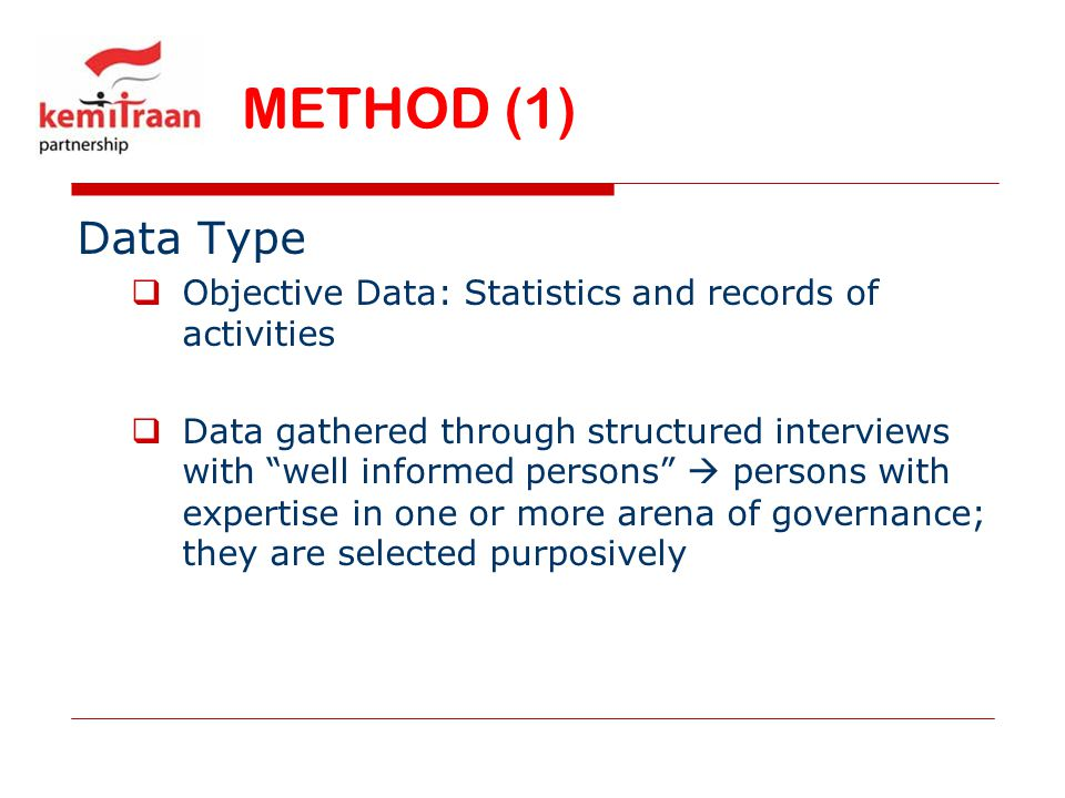 METHOD (1) Data Type. Objective Data: Statistics and records of activities.