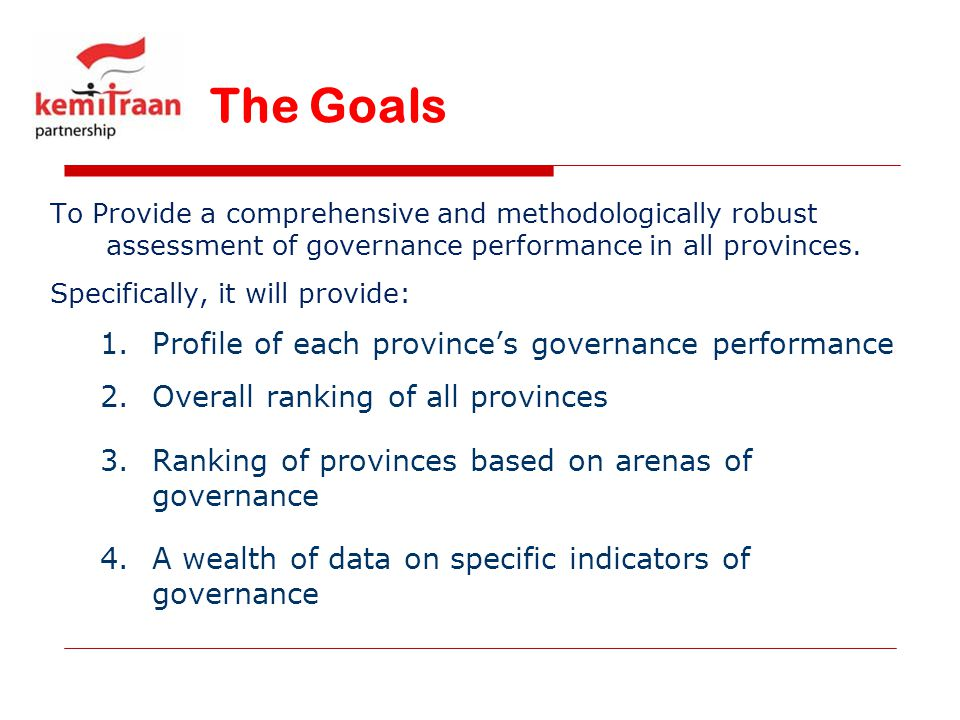 The Goals Profile of each province's governance performance