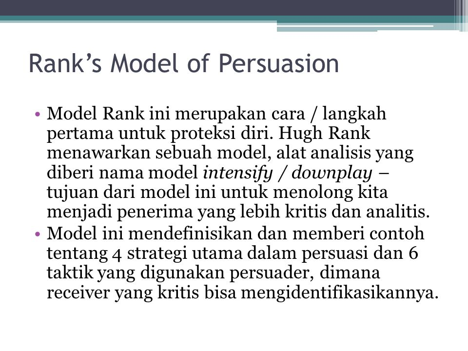 Rank's Model of Persuasion