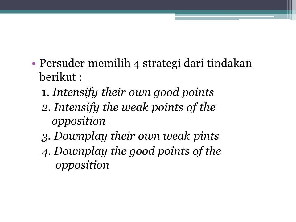 Persuder memilih 4 strategi dari tindakan berikut :