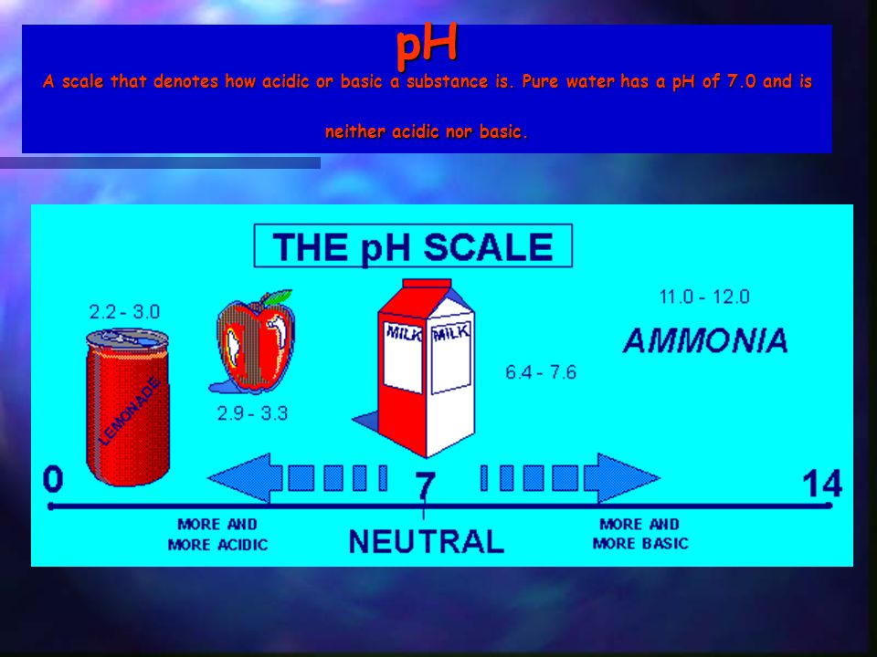 pH A scale that denotes how acidic or basic a substance is