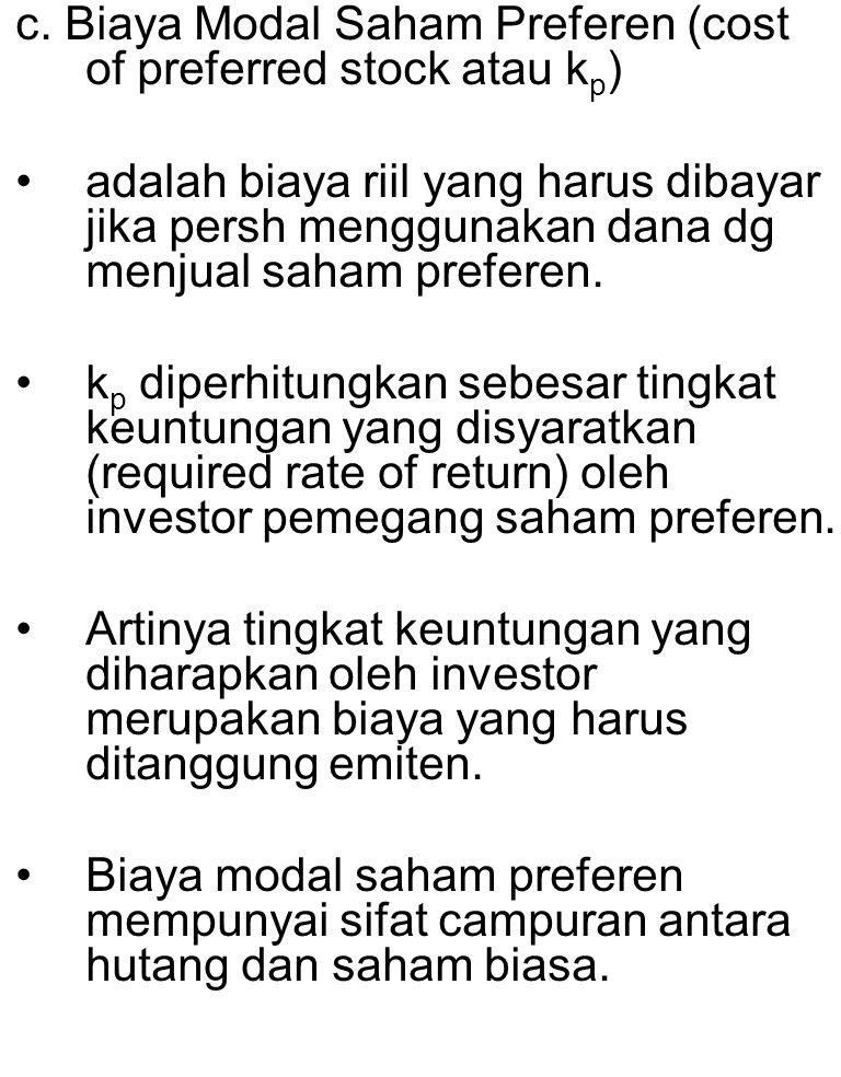 c. Biaya Modal Saham Preferen (cost of preferred stock atau kp)