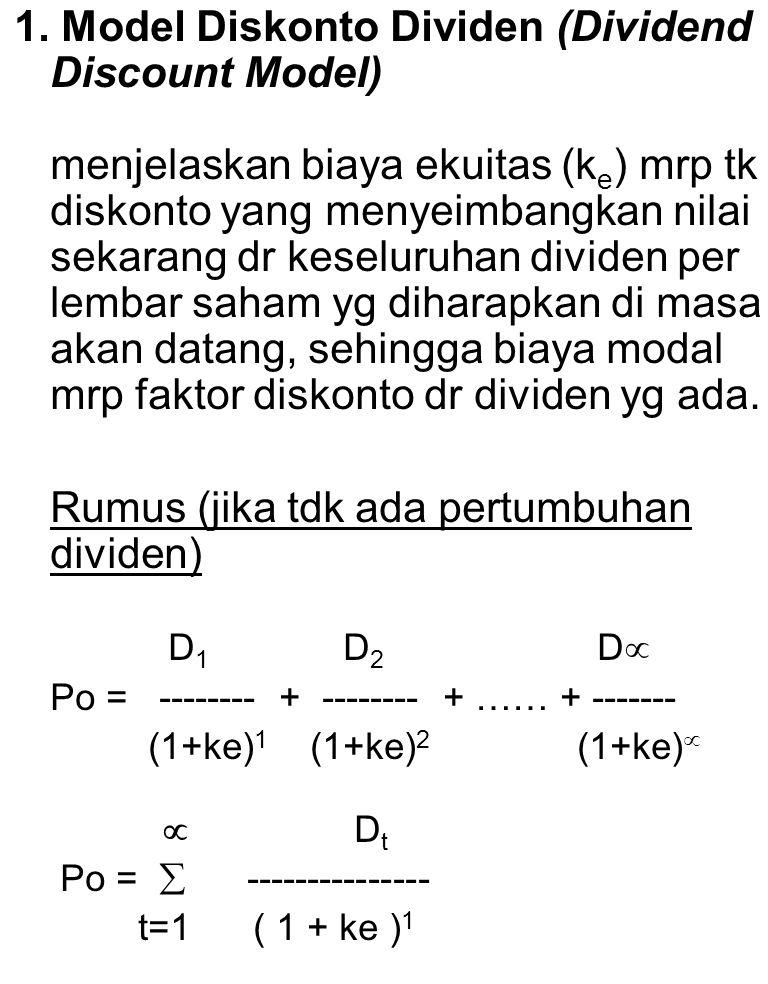 1. Model Diskonto Dividen (Dividend Discount Model)