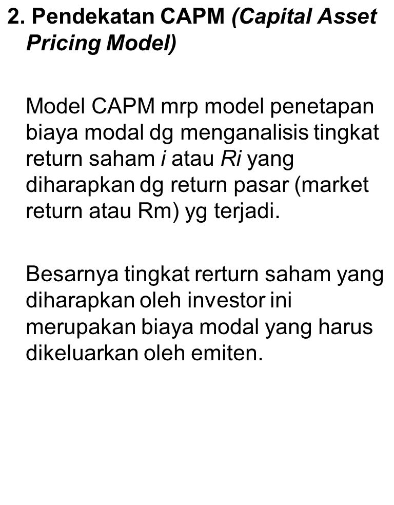 2. Pendekatan CAPM (Capital Asset Pricing Model)